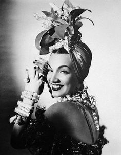 Carmen Miranda in Lilly Dache turban, a joy to both creator and wearer.