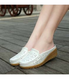 Women's #white easy leather slip on shoe #loafers, hollow out, carving, Round toe design , casual, leisure occasions.