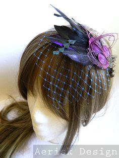 Small birdcage veil for Feather Fascinator by CastleMemories