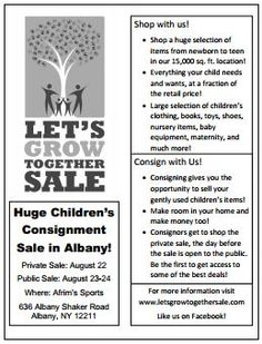 Let's Grow Together Children's Consignment Sale Fall/Winter 2014 Flyer.