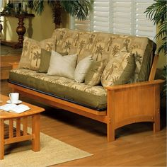 Cottage Grove Full Size Metal Wood Futon Frame In Golden Oak Elite Products