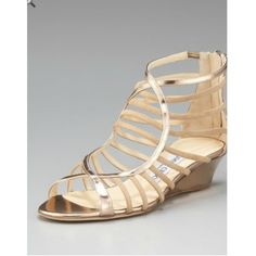 jimmy choos shoes, jimmy choo orange wedges discount $234, Jimmy Choo Hedda Strappy Wedge
