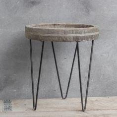 Tafeltje grey wash met ijzer 27x31 cm - 8719097016635 - Avantius