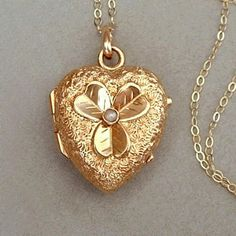 A Rare Authentic Antique Victorian Gold Heart Locket embellished with Romantic Engravings and a Repousse Good Luck Shamrock bezel-set with a Victorian Jewelry, Antique Jewelry, Vintage Jewelry, Art Deco Jewelry, Gold Jewelry, Jewelery, Gold Heart Locket, Antique Locket, Valentines Gifts For Her