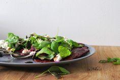 Carpaccio z buraków Feta, Spinach, Smoothie, Vegetables, Blog, Veggie Food, Smoothies, Vegetable Recipes, Veggies
