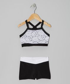 Take a look at this Black & White Lace Sports Bra & Shorts - Girls by Elliewear on #zulily today!
