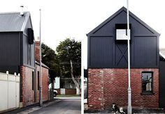 "The ""Kerferd Place"" is a house built by Whiting Architects and which was entirely made in black and white, in a minimalist interior design slightly Scandinavian Architecture, Architecture Old, Architecture Details, Modern Exterior, Exterior Design, Grey Brick Houses, Style Édouardien, Architects Journal, Recycled Brick"