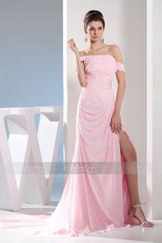 Etui-Linie Rosa Bezauberndes Bodenlanges Abendkleid mit Carmen-Ausschnitt aus Chiffon