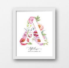 Custom monogram, PRINTABLE ART, Personalized name, Floral nursery prints, Watercolor flowers, Floral monogram letter, Nursery decor, Peonies
