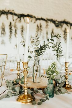 Amy and Jon's wedding had rustic foliage touches.  Photo: @darinastoda Church Wedding Ceremony, Church Wedding Decorations, Wedding Centerpieces, Table Decorations, Wedding Bells, Wedding Table Names, Wedding Table Settings, Canopy Lights, Light Canopy