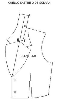 Trazo Plano de como hacer solapa tipo sastre buenisimo! Alc Clothing, Clothing Labels, Boutique Clothing, 1960s Outfits, Vintage Outfits, Dress Sewing Patterns, Clothing Patterns, Mickey Costume, Cute Dress Outfits