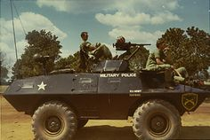 US Army military police V-100, 1971. Note the helmet sitting on top of the mounted machine gun.