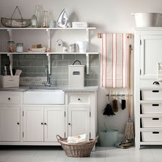 Organised neutral utility room   Utility room decorating   Ideal Home   Housetohome.co.uk