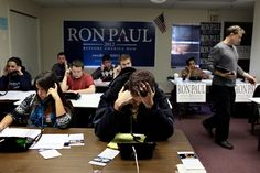 Paul supporters working the phones on election eve.