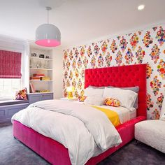 A Gallery of 'Happy Modern' Wallpaper | Apartment Therapy bedroom kids room red tufted headboard bed