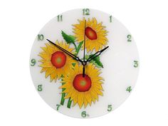 Items similar to Sunflower Wall Clock, Yellow Floral Wall Decor, Gift for Woman, Kitchen Wall Clock on Etsy Clock Labels, Picture Clock, Clock For Kids, Kitchen Wall Clocks, Thing 1, Large Clock, Everyday Objects, Floral Wall, Handmade Art