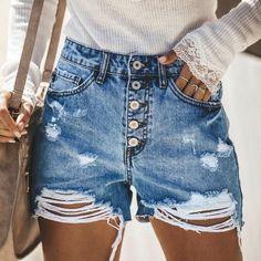 KLJR Women Cut Off Ripped Distressed Summer Belt Low Waisted Denim Shorts Jeans Hot Pants