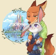 Zootopia - Nick Wilde x Judy Hopps - Wildehopps Nick Wilde, Zootopia Anime, Zootopia Comic, Disney And More, Disney Love, Zootopia Nick Et Judy, Animation Disney, Dreamworks Animation, Film Anime