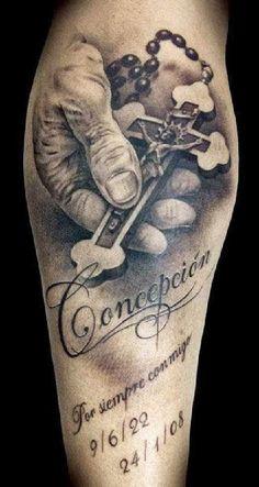 Tatuaje de Rosario y Crucifijo