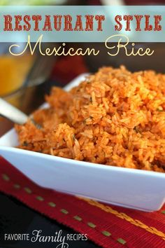 Our Restaurant Style Mexican Rice rivals anything you can get in a restaurant. I… Our Restaurant Style Mexican Rice rivals anything you can get in a restaurant. It has the perfect consistency and just the right amount of seasoning. Side Dish Recipes, New Recipes, Cooking Recipes, Favorite Recipes, Family Recipes, Popular Recipes, Easy Recipes, Dinner Recipes, Risotto