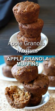 Apple Granola Muffins are easy and delicious. These fruity moist muffins are healthy and sweetened just right for breakfast, brunch or a snack. Everyone loves this vegan apple granola muffins recipe! Muffin Recipes, Apple Recipes, Baking Recipes, Breakfast Recipes, Vegan Recipes, Vegan Apple Muffins, Healthy Muffins, Granola Muffin Recipe, Vegan Appetizers