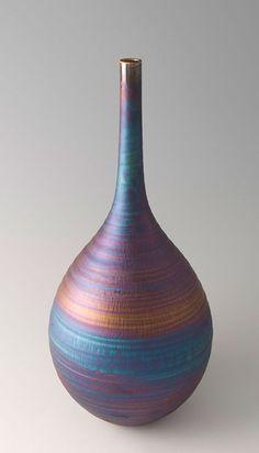 """Hideaki Miyamura, Vase, blue hare's fur glaze, Porcelain, 16 x 7.5 x 7.5"""""""