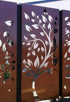 Decorative Screen Panels, Decorative Room Dividers, Tree Stencil For Wall, Tree Wall Art, Front Gate Design, Door Gate Design, Balustrade Balcon, Vector Trees, Wall Decals