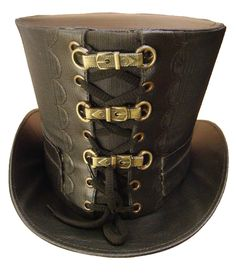 Steampunk Handmade  black suiting fabric black Top Hat with metal buckles
