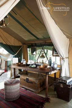 Selinda Explorers - Linyanti - Botswana Safaris. This classic camp, consisting of four custom-designed tents, transports us back to authentic safaris, but with a modern twist and hospitality. Subtly placed under the shade of the riverine forest, the camp is designed in the style of the early explorers both in philosophy and practice.