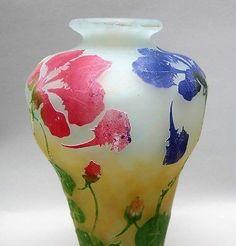 Museum-Quality DAUM NANCY 5-Color Cameo & Vitrified Glass Vase  c. 1907  antique