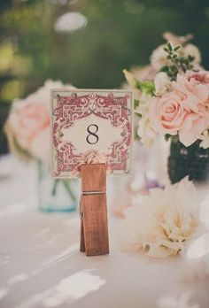 Shabby Chic Giant Clothespin Table Numbers