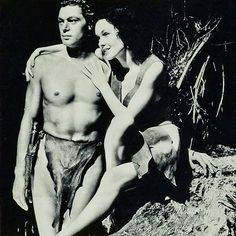 """Johnny Weissmuller y Maureen O'Sullivan en """"Tarzán y su compañera"""", 1934"""