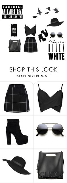 """""""Black&White"""" by kimmbrlyy ❤ liked on Polyvore featuring WithChic, Topshop, Gucci, Samsung and Jayson Home"""