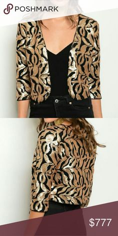 Coming soon! Sequin jacket Brand new  Sassy little sequin jacket! A must have for the holiday parties!! This zebra print jacket is covered in mini sequins! Jackets & Coats