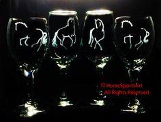 Dressage RED & WHITE COMBO Wine Glass Set Hand by HorseSportsArt