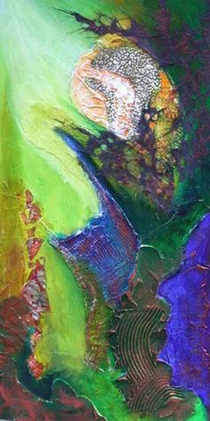 Original MIXED MEDIA Painting Mystery in Blue Minor by ShariArts, $200.00