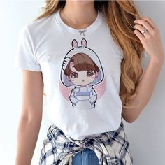 KPOP and Korean Hip Hop trendy apparel hub and Kpop band merchandise for concerts. Kpop Shirts, Boys T Shirts, T Shirts For Women, Bts Shirt, Cartoon T Shirts, Bts Merch, Cute Bunny, Army, Outfits