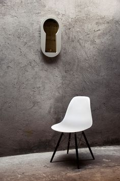 Curiosity meets narcissism with this keyhole-shaped mirror called Voyeur by Italian design studio BBMDS.