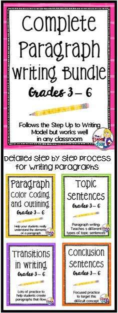 Looking for effective paragraph writing lessons? This Bundle combines four of my very popular writing strategy sets: Paragraph Color Coding and Outlining, Topic Sentences, Transitions in Writing, and Conclusion Sentences. Paragraph Writing, Persuasive Writing, Teaching Writing, Essay Writing, Passage Writing, Writing Rubrics, Writing Topics, Opinion Writing, Essay Topics