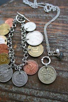 custom coin bracelet and neckace by Katt Midora via facebook