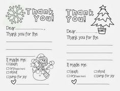 Free Printable Christmas Thank You Cards For Kids Christmas