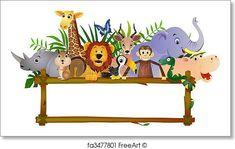 Cartoon Zoo Animals Cliparts, Stock Vector And Royalty Free Cartoon Zoo Animals Illustrations Jungle Theme Birthday, Animal Birthday, Baby Farm Animals, Jungle Animals, Cartoon Zoo Animals, Funny Animals, Clip Art, Safari Png, Jungle Safari