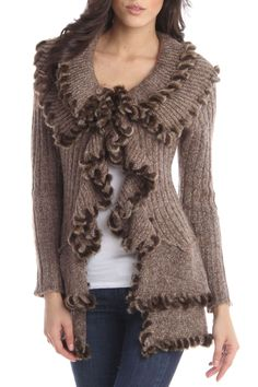 Lapis Ruffle Front Cardigan In Brown