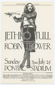 Art Music, Music Artists, Robin Trower, Rock Band Posters, Vintage Concert Posters, Classic Rock And Roll, Jethro Tull, Progressive Rock, Vintage Rock