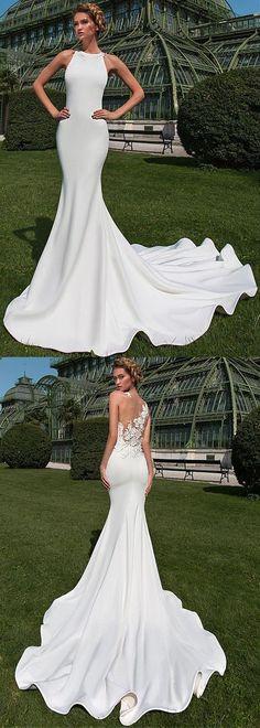 Fabulous Tulle & Satin Jewel Neckline Mermaid Wedding Dress With Lace Appliques & 3D Flowers & Beadings #laceweddingdresses