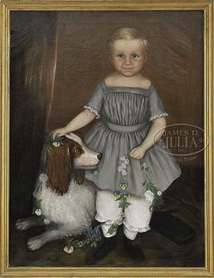 """""""Young boy with blue/grey dress with dog holding a garland of flowers"""", unsigned, American, mid 19th century."""