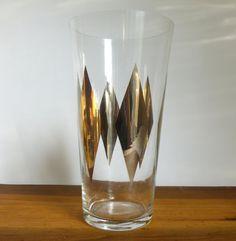 "Mid Century 1960's Space Age Glass 10"" Flower Vase Gold Silver Diamonds. $22.00, via Etsy."