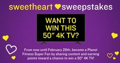 "PF Fort O is giving away a 50"" 4K TV in their new #SweetheartSweepstakes promotion! I signed-up to win & you can too! #PFPromo"