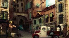 Street ScreenShot by Anuk on DeviantArt Environment Concept Art, Environment Design, Bg Design, Animation Background, 3d Animation, Matte Painting, Architecture Old, Art Pictures, Art Pics
