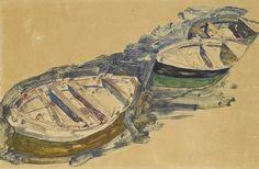 Egon Schiele,Tres botes, 1912. Témpera, gouache y lápiz sobre papel, 31,5 x 47,5 cm, Colección particular